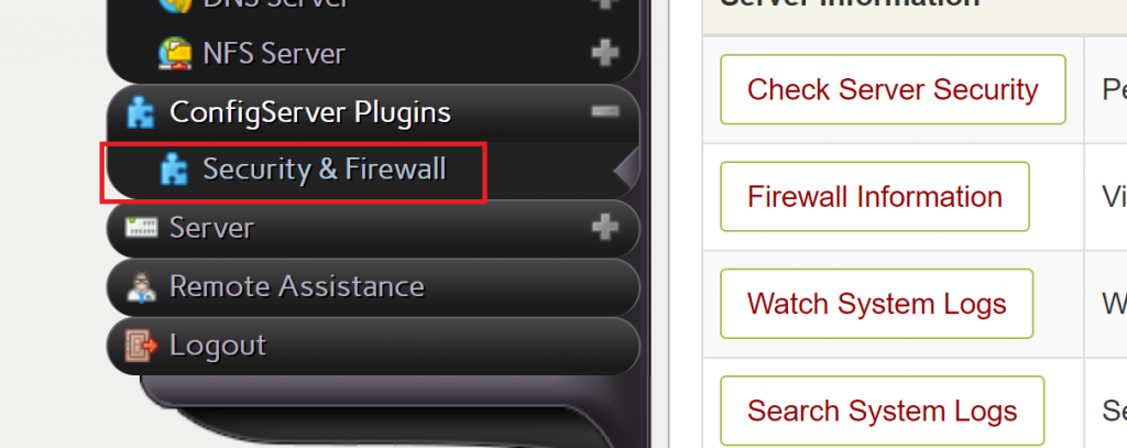 Select Security and Firewall