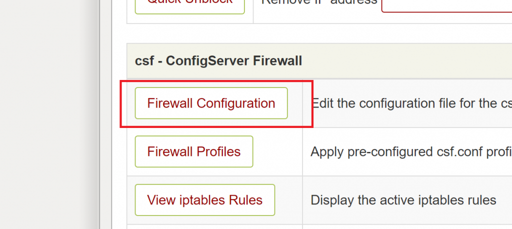 Choose Firewall Configuration