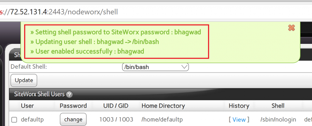 Confirm Shell Access on InterWorx