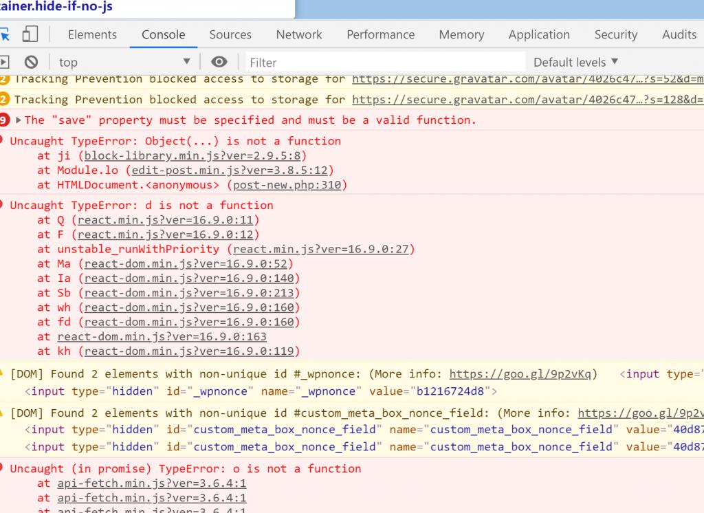WordPress Gutenberg Console Errors after Version Change