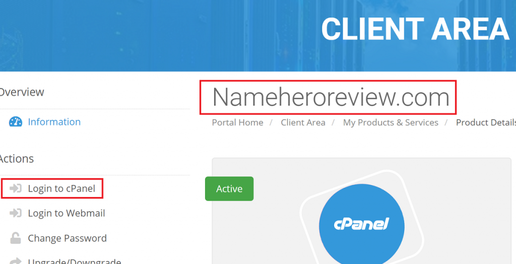 Go to cPanel from the Right Domain Name