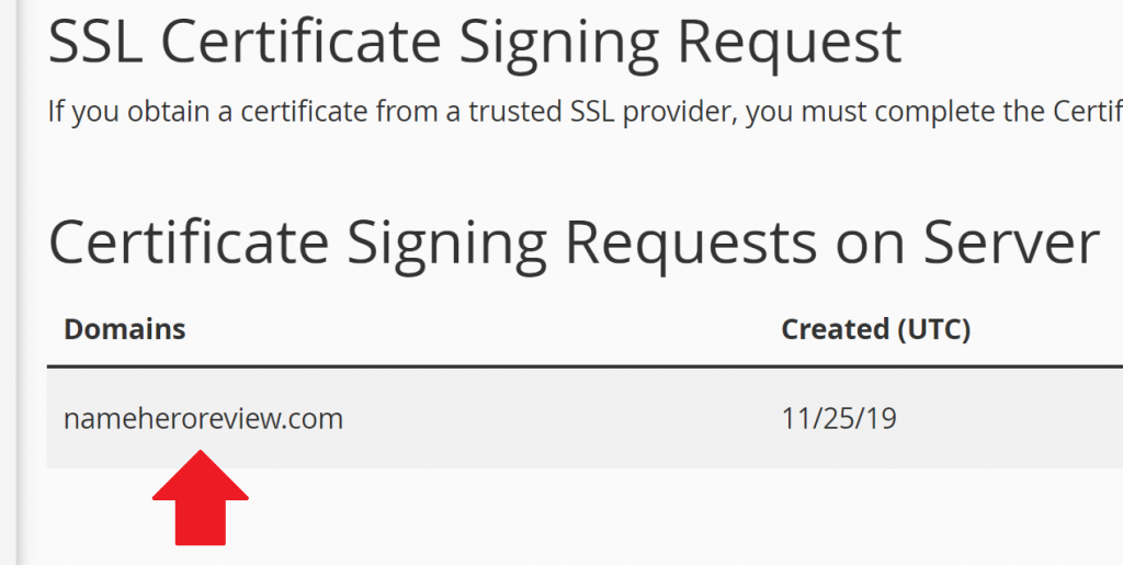 CSR is Stored in cPanel