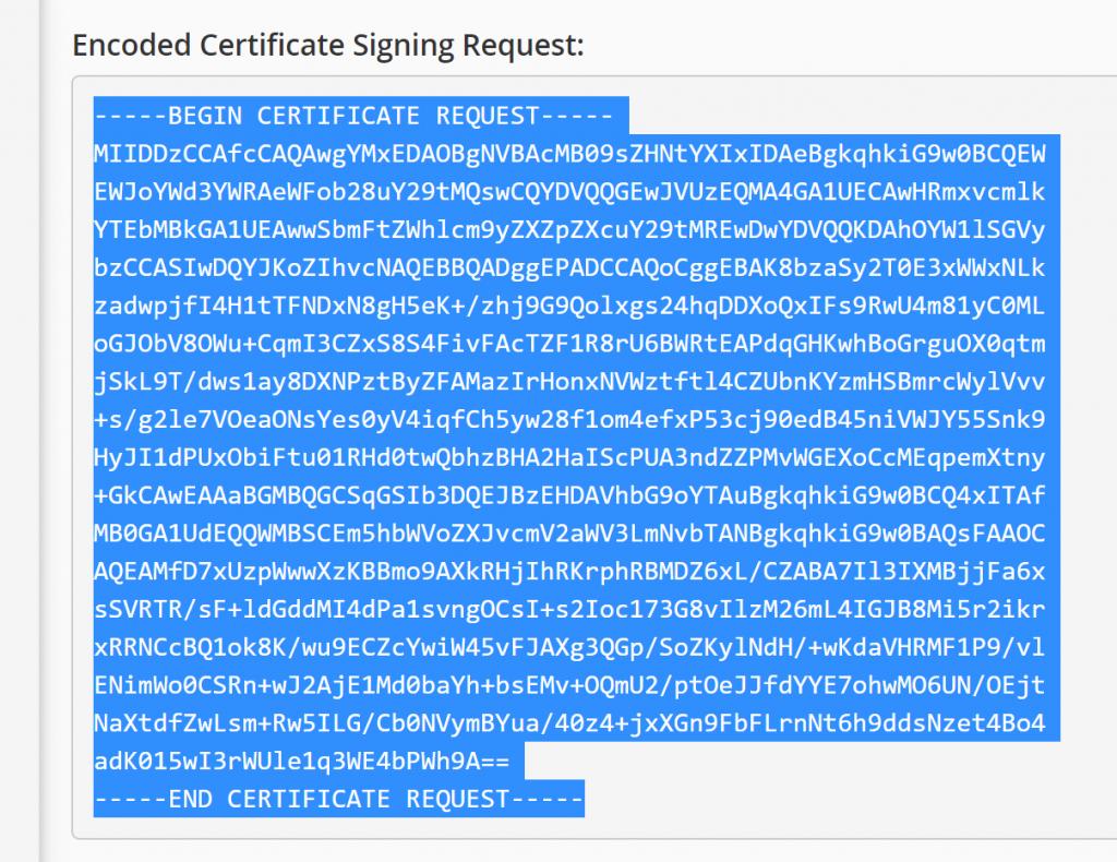 Encoded CSR to Copy Paste