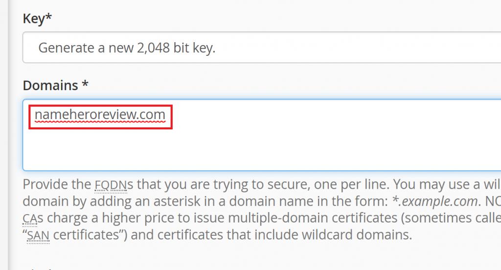 Enter a Domain you Control