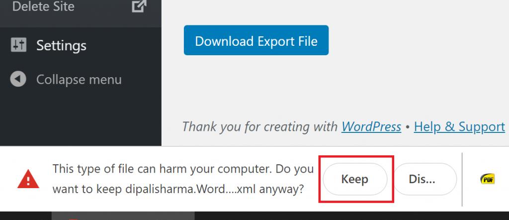 Keep the XML File