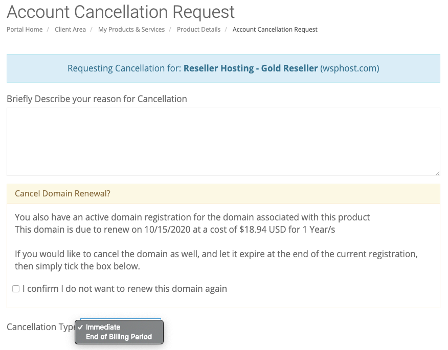 Cancellation Request Form
