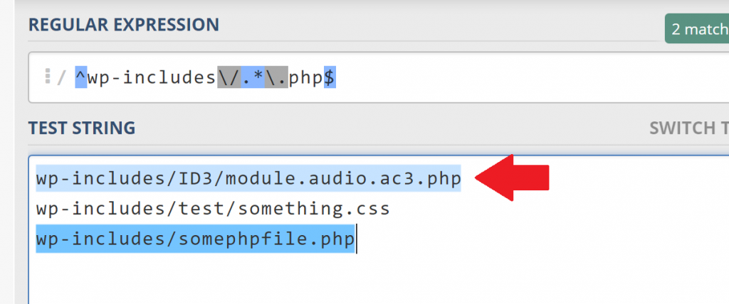 New Regex Blocks all PHP Files