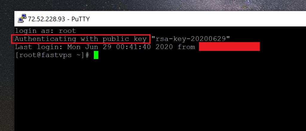 Logged in via SSH
