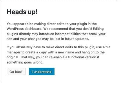 Plugin Warning in WordPress when you Try and Edit Files Directly