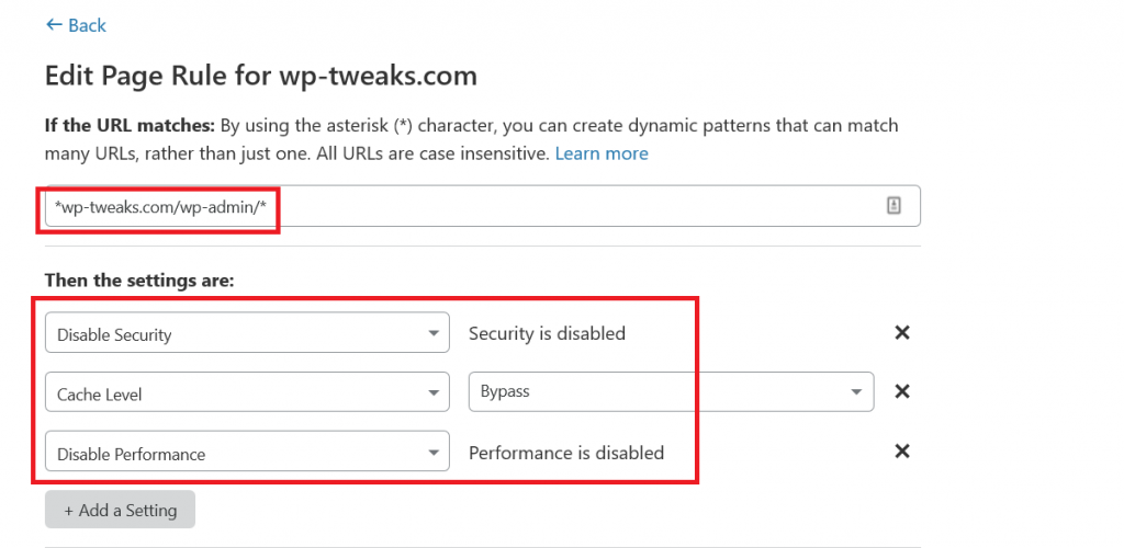 Disabling Security and Performance for WordPress Admin Pages