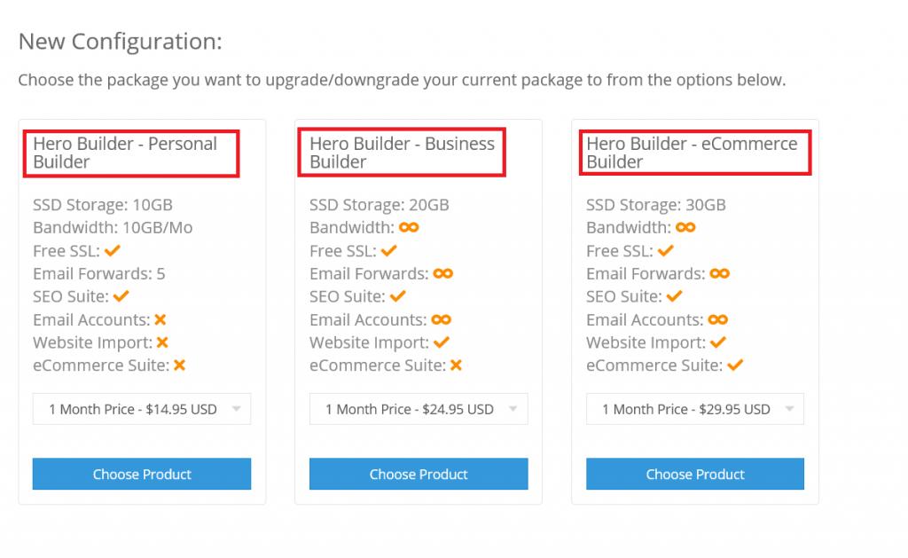 NameHero Website Builder Packages