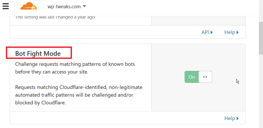 Cloudflare Bot Fight Mode