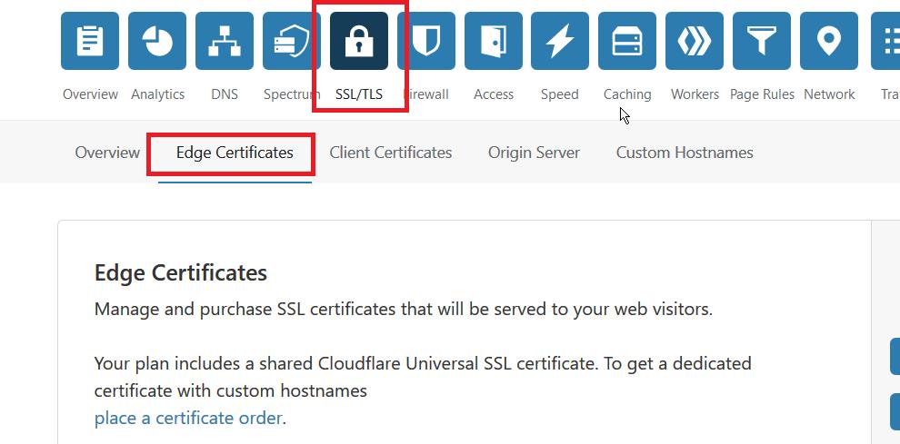 Cloudflare EDGE Certificates