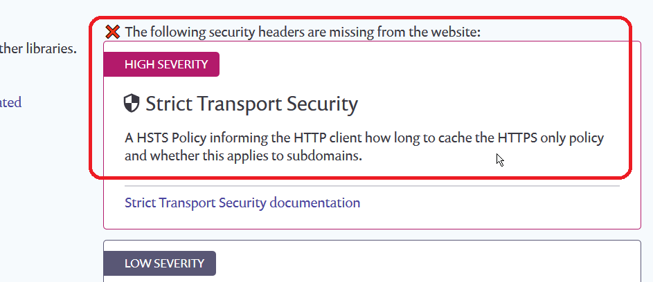 HSTS Not Enabled