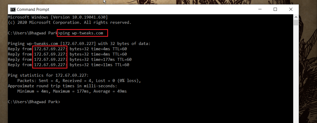 Cloudflare IP Address for my Website WP-Tweaks.com