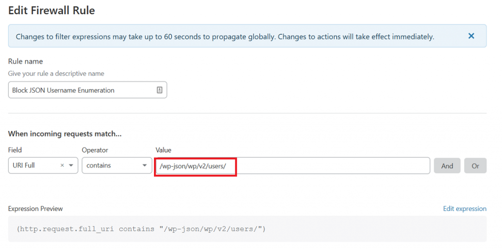 Cloudflare Firewall Rule to Block JSON Username Enumeration