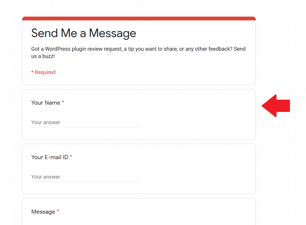 Final Google Forms Contact Form