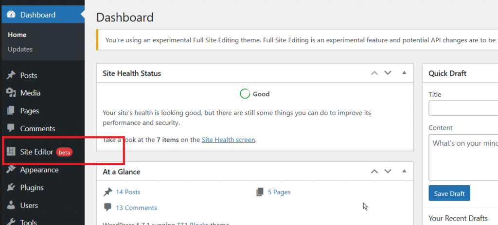 New Site Editor in the WordPress Dashboard