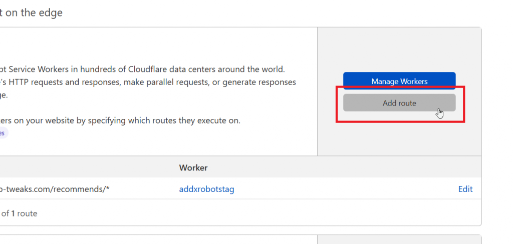 Add Route to the Cloudflare Worker
