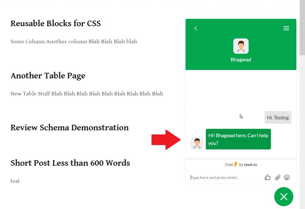 Live Chat Widget on WordPress