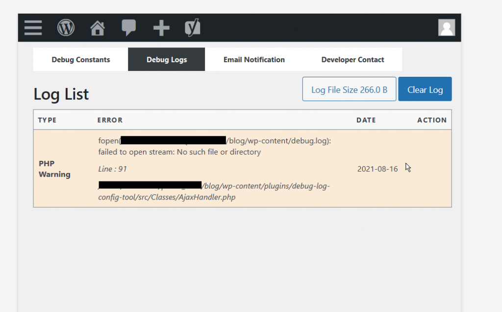 WordPress Error Messages from Within the Dashboard