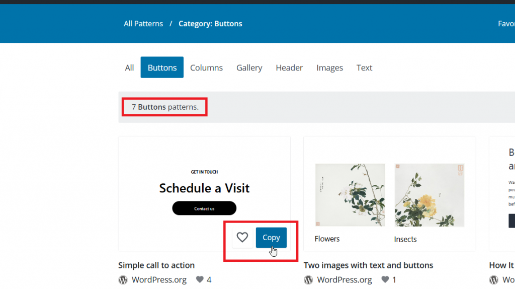 Find the Pattern you Want to Copy in the WordPress Directory