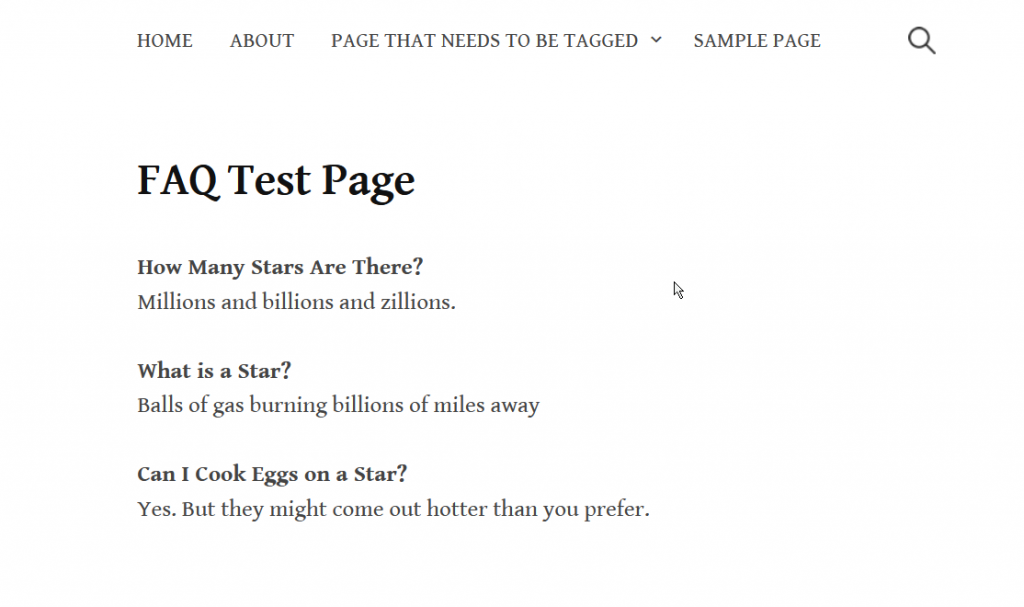 How FAQs Appear on the Page