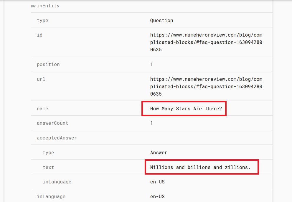 Verifying the FAQ JSON
