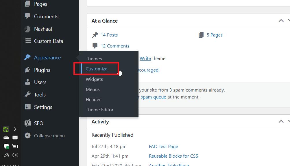 Theme Customizer in the WordPress Dashboard