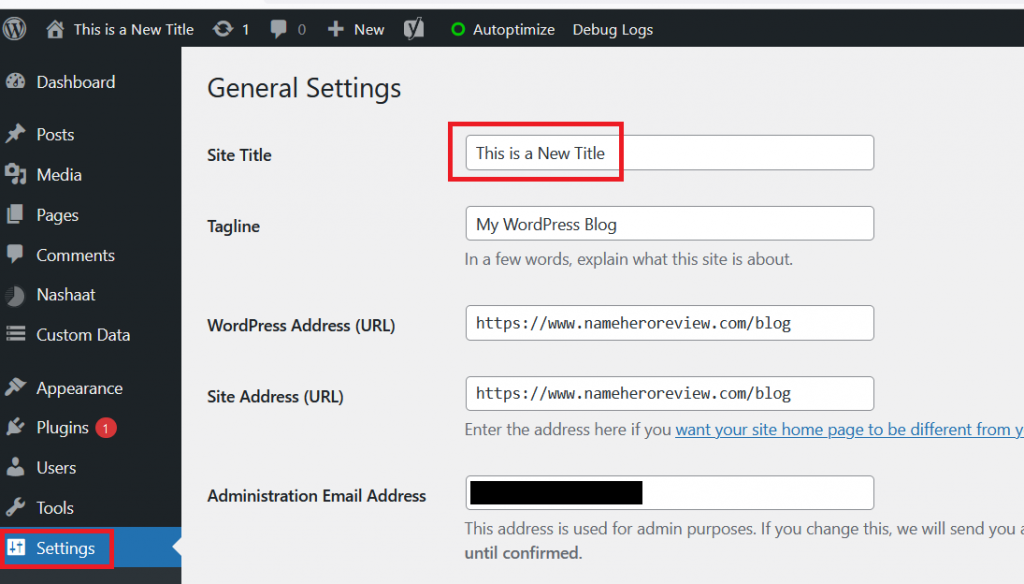 Changing the Site Title in WordPress Old Fashioned Way