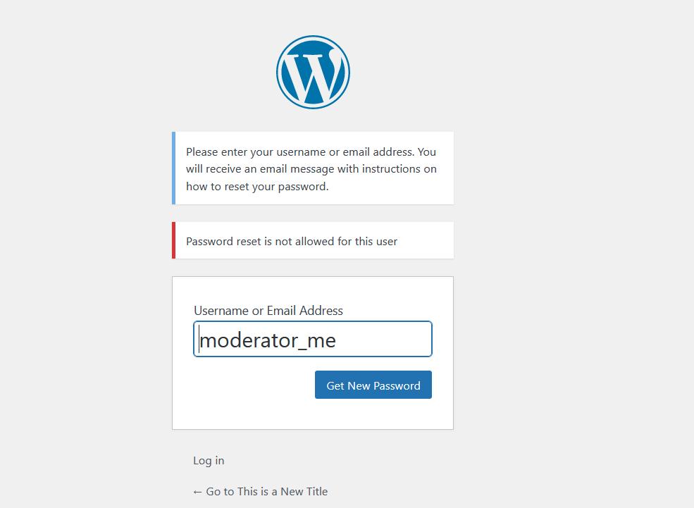 Disabling Password Reset in WordPress for Non-Admin Users